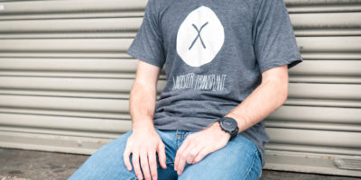 man in gray tshirt with transplant logo