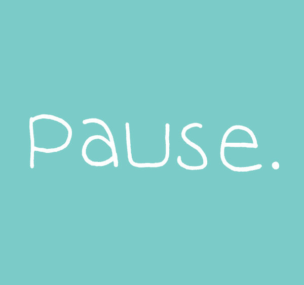The word pause in white on a teal background